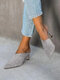 Large Size Solid Color Suede Pointed Closed Toe Mules Heels For Women - Gray