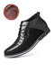 Men Round Toe Lace Up Business Casual Leather Ankle Boots - Black(Plush Lining)