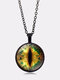Vintage Gemstone Glass Printed Women Necklaces Cat Eye Pendant Sweater Chain - Black