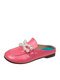 Women Comfy Large Round Closed Toe Pearl Flat Slippers - Pink