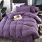 3/4 Pcs Non-printing Skin-washing Cotton Four-piece Quilt Cover Bedding Sets Single Double Bed Three-piece - Purple