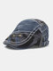 Men Cotton Patchwork Camouflage Pattern Metal Buckle Cloth Stickers Casual Berets - Blue