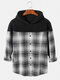 Mens Patchwork Plaid Button Up Long Sleeves Shirt Casual Hoodies - White