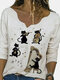 Cats Print V-neck Long Sleeve Plus Size T-shirt For Women - Apricot