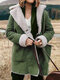 Lapel Plush Solid Color Long Sleeve Casual Coat For Women - Green