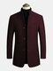 Mens Single-Breasted Woolen Thicken Warm Stand Collar Overcoats With Pockets - Red