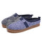 SOCOFY Two Tone Household Cotton Comfy Wearable Slip On Indoor Home Shoes Slippers - Blue