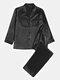 Pijamas de seda sintética de satén de lujo para hombre Conjuntos de ropa de dormir para el hogar de color liso suelto liso - Negro 2