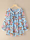 Floral Print O-neck Knotted Long Sleeve Blouse for Women - Blue