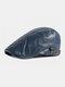 पुरुषों अशुद्ध चमड़े रेट्रो ठोस रंग ब्रिटिश शैली फॉरवर्ड टोपी बेरेट टोपी - नौसेना