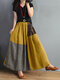 Plaid Patchwork Elastic Waist Long Skirt With Pocket - Yellow