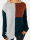 Contrast Color Patchwork O-neck Casual Sweater For Women - Green