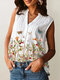 Butterflies Flowers Print V-neck Casual Plus Size Tank Top - White
