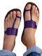 Plus Size Casual Beach Thumb Toe Flat Hausschuhe Für Damen - lila