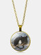 Vintage Glass Printed Women Necklace Cat Owl Pendant Necklace Jewelry Gift - Bronze