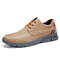 Menico Men Stitching Microfiber Leather Comfy Lace-up Business Casual Shoes - Brown