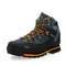 Men Outdoor Slip Resistant Lace Up Leather Hiking Boots - Black