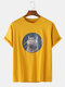 Mens Russian Blue Cat Graphic Print Casual Loose O-Neck T-Shirts - Yellow