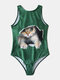 Plus Size Women Cute Cat Graphic High Neck Backless One Piece Slimming Swimsuit - Green