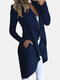 Solid Color Pocket Ruffle Long Sleeve Casual Coat for Women - Blue