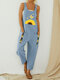 Daisy Butterfly Printed Patchwork Straps Jumpsuit With Pocket - Blue