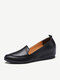 Women Casual Solid Color Pointed Toe Quilting Slip On Increased Heel Loafers Shoes - Black