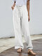 Solid Color Elastic Waist Drawstring Casual Pants - White