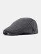 Men Cotton Solid Color Classic All-match Adjustable Forward Cap Berets - Dark Gray