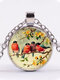 Alloy Glass Vintage Birds Floral Pattern Printed Necklace Pendant - Silver