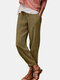 Solid Color Drawstring Casual Cotton Pants For Women - Khaki