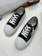 Women Chinese Style Embroidered Lace-up Flat Canvas Shoes - Black