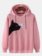 Cat Butterfly Print Long Sleeve Casual Hoodie For Women - Pink