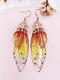 Vintage S925 Sterling Silver Butterfly Long Cicada Wings Gradient Earrings - 16
