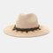 Men And Women British Wind Jazz Straw Hat Outdoor Sunscreen Breathable Big Brim Sun Hat - Pink