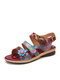 SOCOFY Bohemian Flower Decor Printed Genuine Leather Double Band Hook Loop Beach Sandals - Wine Red