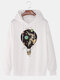Mens Hot Air Balloon Graphic Print Cotton Relaxed Fit Drawstring Pullover Hoodies - White