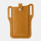 Men EDC Genuine Leather 6.3 Inch Retro Short Cell Phone Case Belt Bag - Yellow