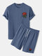 Mens Basic Knitted Rose Embroidery Patch Short Sleeve Casual Two Piece Outfits Cozy Loungewear - Blue
