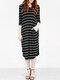 Asymmetrical Striped V-neck Plus Size Dress - Black