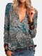 Vintage Printed Long Sleeve V-neck Zip Front T-shirt For Women - Gray