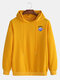 Mens Planet Letter Printed Cotton Drop Shoulder Casual Drawstring Hoodies - Yellow