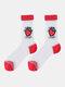جوارب حريرية حريرية أنيقة بنمط رسوم متحركة فواكه للسيدات - فراولة حمراء