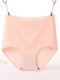 Plus Size High Waisted Butt Lifter Breathable Seamless Panties - Pink