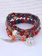 Vintage Multicolor Beads Multi-layer Bracelet Temperament Wing Pendant Bracelet - Colorful