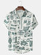 Mens All Over Chinese Character City Print Street Short Sleeve Shirts - White
