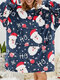 Women Christmas Santa Claus Print Thick Sherpa Fleece Robe Two-Sided Wearable Blanket Hoodie Oversized Sweatshirt With Front Pocket - Navy