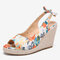 LOSTISY Women Printing Decor Comfy Wearable Peep Toe Casual Espadrilles Wedges Sandals - White