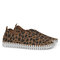 Women Animal Printing Hollow Breathable Slip On Casual Flat Shoes - Brown