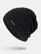 メンズウールPlus厚手の冬は暖かく防風ニット帽を保つ - 黒