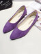 Women Pointed Toe Casual Solid Color Suede Comfortable Ballet Flats - Purple